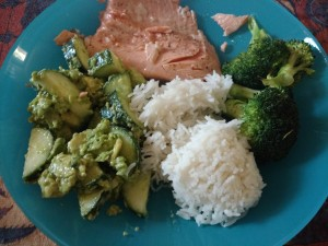 Day 1 dinner: Salmon with rice, brocoli, and a cucumber avocado salad