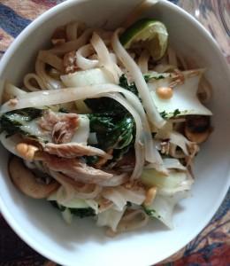 A Pad Thai variation. No eggs for my elmination diet, and a few other changes based on what I had in the kitchen.